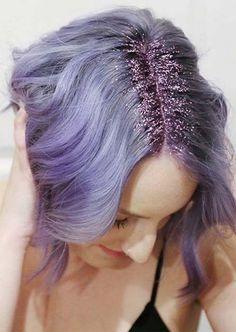 Glitter Hairstyles Ideas: Purple Glitter Hair Roots