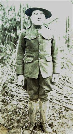 Pvt. Alex Echwa Doucette at U.S. Army's Fort Stevens, Oregon shortly after World War I - Cowlitz - 1919