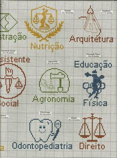 Apaixonada por Ponto Cruz: Gráficos Profissões Cross Stitch Letter Patterns, Cross Stitch Letters, Mini Cross Stitch, Beaded Cross Stitch, Stitch Patterns, Diy Embroidery, Cross Stitch Embroidery, Cross Stitch Silhouette, Cute Tooth
