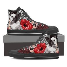 Lace-up for snug fit with metal eyelets for a classic look. Classic Looks, Snug Fit, Converse Chuck Taylor, French Bulldog, High Tops, High Top Sneakers, Lace Up, Shoes, Black
