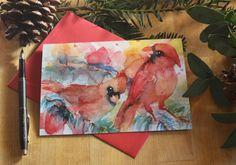 8 Holiday Greeting Cards, Cardinals and Xmas lights, Christmas Cards, Greeting Card Set, Xmas Cards, Watercolor card, Bright, Happy New Year