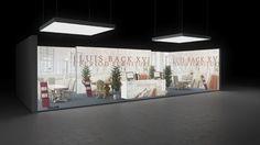 195 Stilmöbel Luis Back | Einladender Messestand für einen Hersteller von Stilmöbeln.   Der mittelgroße Reihenstand präsentiert prunkvolle Interior Motive und grosse Logodr...