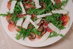 Eerst Koken: Gemarineerde champignons met rauwe ham, rucola en ...