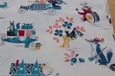 vintage childrens fabric...looks familiar...is it martin provensen ? or mary blair or even richard scarry...tell me please