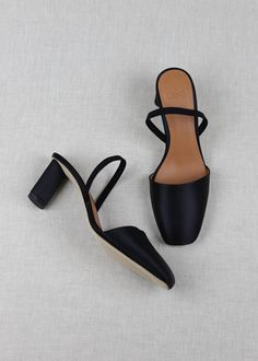 Satin slingbacks in Negro Made in Spain, our sleek slingbacks with an elastic strap in black satin. Square toe and elliptic, satin-covered inch heel. Fits true to size. Pump Shoes, Shoes Sandals, Shoes Sneakers, Madewell, Toms, Slingback Pump, Shoe Closet, Sock Shoes, 5 Inch Heels
