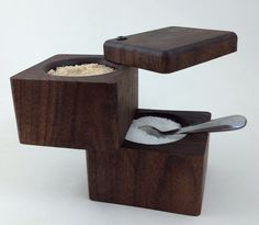 Double Decker Wood Salt Cellar, Walnut by AnnArborMade on Etsy https://www.etsy.com/listing/227934589/double-decker-wood-salt-cellar-walnut