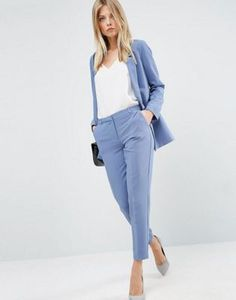 ASOS Tailored Crepe Suit in Slate Blue