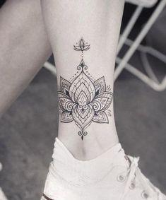 Shaded Lotus Mandala Tattoo #tattooswomensdesigns