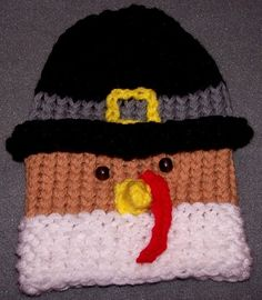 Tom Turkey hat.    Pattern is for loom but is easily translated for knitting needles. Cute! :o)