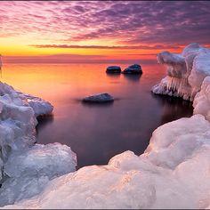 Finland ~ warm sunset glow on ice
