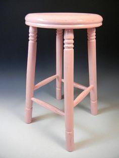 アンティークピンクの丸椅子 リンネルナチュリラ インテリア 雑貨 家具 Antique chair ¥9800yen 〆04月26日