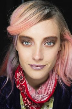 Chloe Norgaard at Rodarte A/WFW'14 with rainbow hair and side fringe