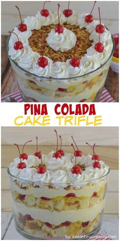 Pina Colada Cake Trifle - Layers of cake, fruit, and no bake cheesecake makes this a must make dessert for summer parties and picnics. Layered Desserts, Easy Desserts, Delicious Desserts, Fruit Trifle Desserts, Fruit Triffle, Dessert Trifles, Mini Desserts, Desserts For Picnics, No Bake Summer Desserts