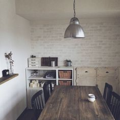 アクセントウォール/賃貸/DIY/ダイニング/レンガ壁紙/壁紙…などのインテリア実例 - 2014-09-25 01:14:25 | RoomClip(ルームクリップ)