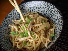 Spicy sesame noodles with chicken. Compliments of Chrissy Teigen