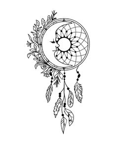 The dream catcher reminds us of the importance of dreams. Dream Catcher Sketch, Dream Catcher Tattoo Design, Dream Catcher Art, Art Drawings Beautiful, Art Drawings Sketches Simple, Dream Catcher Coloring Pages, Moon Drawing, Doodle Art Designs, Tattoo Flash Art