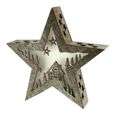 ACHICA | Festive 28cm Battery Operated Lit Star With House Design, White Washed