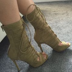Front Lace up Bootie Heels