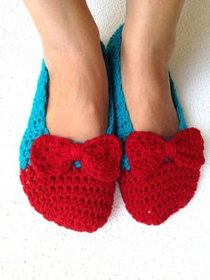Crochet Womens Slippers Ballet Flats House Shoes by cookieletta, $25.00