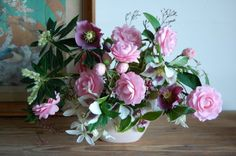 Flowers to Share, Camelia and Hellebore centerpiece