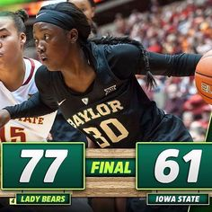 @baylorwbb defeats Iowa State on the road by 16. #SicEm