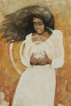 """Holding Holy Things by Caitlin Connolly - oil / acrylic / panel board - 24"""" x 36"""" - Ether 3:4-6"""