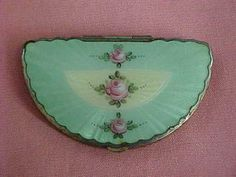 Vintage Turquoise Guilloche Enamel Floral Design Compact