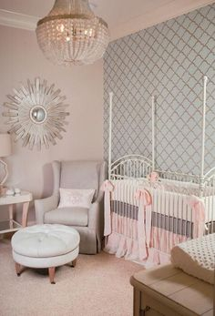 blue arabesque wallpaper, pastel nursery, French four-poster crib