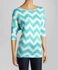 Chevron Top  I like the large chevron print, the bright blue color, and how it's not drapey.