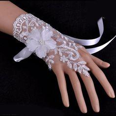 White Lace Destination Wedding Bridal Wristbands Fingerless Gloves SKU-11201076