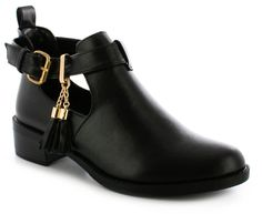 Chrissy Womens/Ladies Whatever The Weather Step Out In Style In A Pair Of Cool Boots! These Ankle Boots Feature Fashionable Chop Out To The Side, Buckle And Tassle Detail, A Perfect Spring/Summer Staple | Black | Wynsors