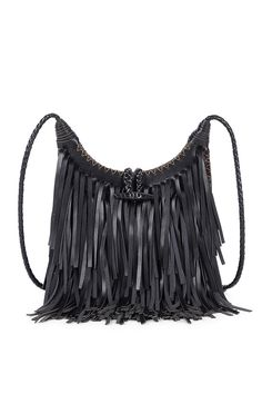 Black fringe crossbody bag with a braided strap and intricate stitching detail ==