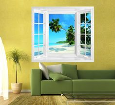 Tropical beach view window illusion mural.  Create the illusion of a window with stunning views to enhance your wall space.  Mural printed onto Phototex Self Adhesive Wallpaper, simply peel and stick.