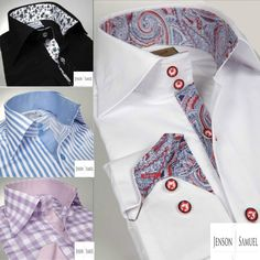 Mens Formal Italian Slim Fit Shirt Contrast Collar Cuffs (really like the button style)