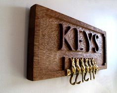 Key wall hangerkey hookscat hookswooden key by Earthworkinteriors