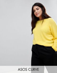 ASOS Curve | ASOS CURVE Sweater In Fluffy Yarn With Crew Neck