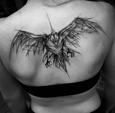 Sketch Style Tattoo on Back by Inez Janiak