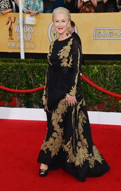 Helen Mirren in an embroidered black and gold Escada gown at the SAG Awards 2014