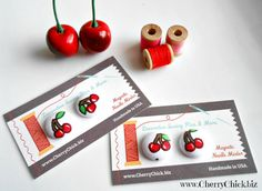 Needle Minder, Needle Keeper, by DecorativeSewingPins on Etsy #Cherries #Sewing #CrossStitch