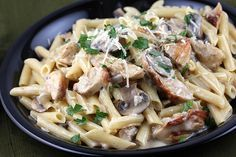 Creamy chicken marsala with penne pasta