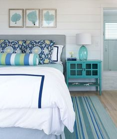 Turquoise Bedroom with Coastal Accents... http://www.completely-coastal.com/2017/05/Turquoise-decor-ideas-bedroom.html