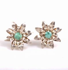 Sterling silver earrings handcrafted with turquoise stones. Mynahs Tree gemstone jewelry, India