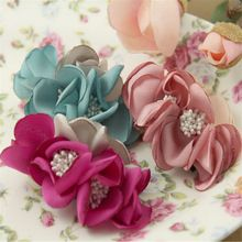 New Arrival Fabric Chiffon Flowers Patch Sticker Fit For Lady Girls Hair Jewelry headband Toddler Kids Elastic Headwear DIY(China (Mainland))