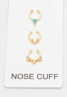 3 pc Gold Crystal Pearl Fake Septum Piercing Set, Faux Nose Ring - Dempsey & Gazelle - 1