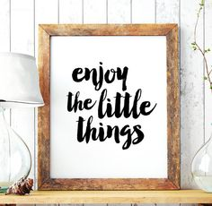 "Home Decor ""Enjoy the little things"" Printable Art Poster – Printable Typography Quote Wall Decor, Scandinavian Wall Art *INSTANT DOWNLOAD*"