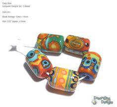 CRAZY DAZE Lampwork Beads Handmade Red Yelow by desertbugdesigns, $25.00