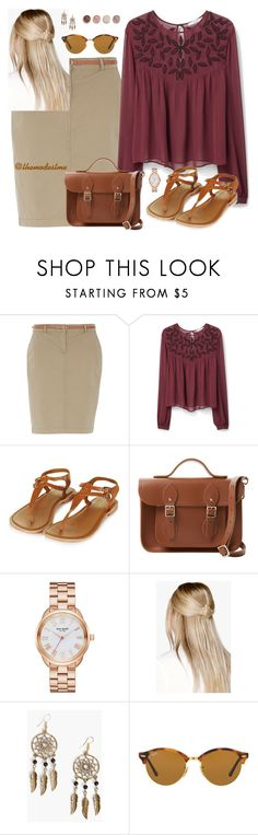 """""""Plum Fairy"""" by themodestme ❤ liked on Polyvore featuring Dorothy Perkins, MANGO, Topshop, The Cambridge Satchel Company, Kate Spade, Boohoo, Ray-Ban and Terre Mère"""