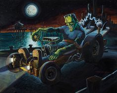 Fully Charged by Damian Fulton Frankenstein Hot Rod Canvas Art Print – moodswingsonthenet