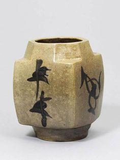 Shoji Hamada:  Octagonal neck bottle vase, stoneware