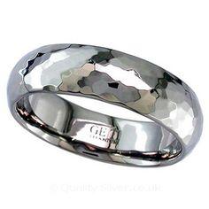 Geti Flat Hammered Titanium Ring #Geti #TitaniumWeddingRing